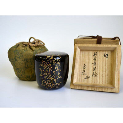 Natsume Foliage scroll Maki-e Singed Japanese Satin Tea ceremony caddy JF FS EMS