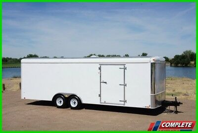 "Enclosed 8.5x24 Steel Frame Car Hauler Cargo Trailer: Screwless LED 48"" Door"