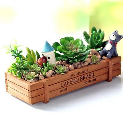 Wooden Rectangle Plant Pot Storage Box for Garden Flower Planter Succulent