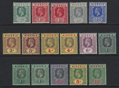 Nigeria 1914 set to 10s + few shades - lightly mounted / mounted mint £130
