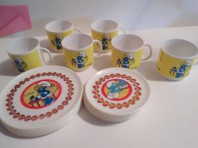 Vintage 1980 Smurfs Childs Hard Plastic Lot Tea/cup/plate Set - mixed lot
