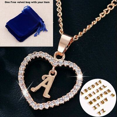 Rose Gold Love Heart Initial Letter Alphabet Charm Pendant Necklace + Gift Bag