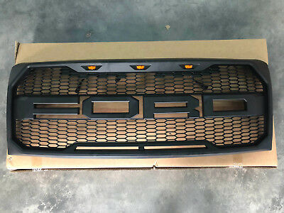 BLACK 2009-2014 Ford F-150 F150 Raptor Style Conversion Grille Grill W/ F+R