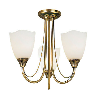 Endon Haughton Antique Brass and Frosted Glass 3 Light Semi Flush Ceiling Light
