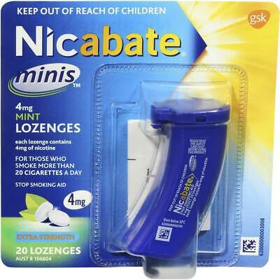 New Nicabate Minis 4mg Mint Lozenges Extra Strength 20