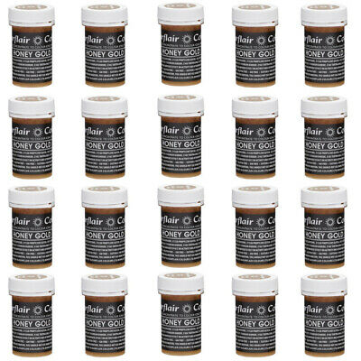 50 x Sugarflair HONEY GOLD Pastel Edible Food Colouring Paste for Cake Icing 25g