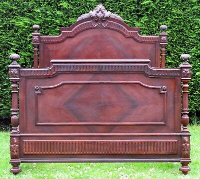 Stunning French Henri II Carved Rosewood Standard Double Bed Pine Base