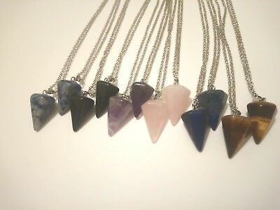 Crystal Pendulum Necklace BUY 3 get 1 FREE Healing Crystal Pendant Point & Chain