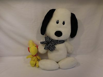 """Snoopy Flat Plush Pillow Determined Productions 16""""  VIntage Rare + Woodstock"""