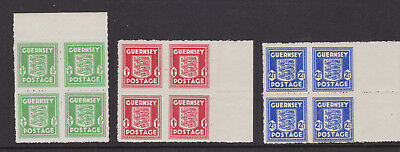 Gb Guernsey Wartime Arms Issue - Blocks Of 4  Unmounted Mint - Superb