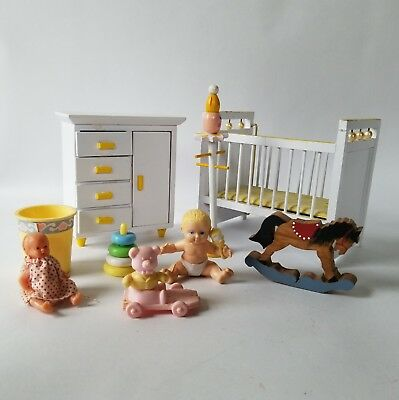 Nursery Baby Room Dollhouse Miniature Furniture Set in White Yellow Accessories