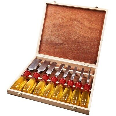 8pc Chisel Set Split Proof Handles Wooden Box Woodworking Carving DIY 1/4-1 1/2""