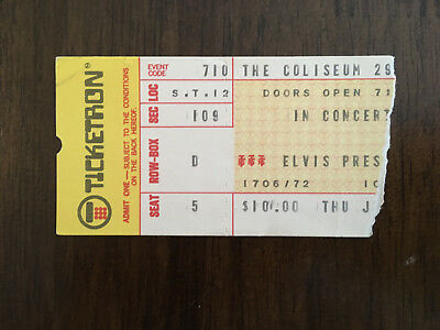 Authentic 1975 Elvis Presley concert ticket stub wth Certificate of Authenticity