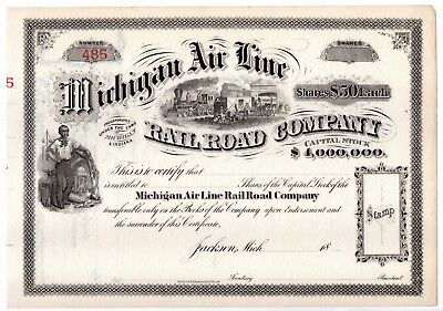 Michigan Air Line Railroad Stock Certificate Unissued later 1800 Jackson Detroit