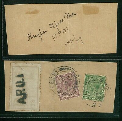 ( Hkpnc ) Hong Kong Field Post Office #1 Cds China Shanghai, Gb Kgv Piece Scarce