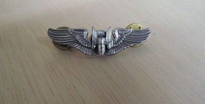 WWII US Army Air Corps Aerial Gunner Solid Sterling Silver Wings w/ clutch back
