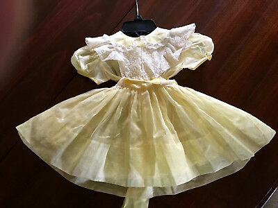 Vintage 1950's 2 Piece Sheer Girls Party Dress Yellow Unused Toddler Party Dress