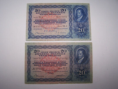 banknote Switzerland - 20 Francs 1938 ,1951 - VF -see pictures