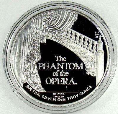Phantom of the Opera .999 Fine Silver One Troy Ounce Oz 10th Anniversary Coin