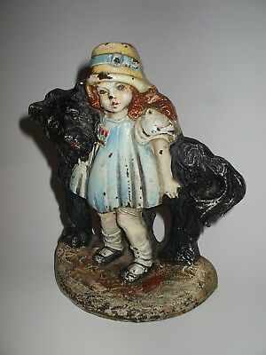 Rare  antique 1940's cast iron Girl w  Dog doorstop by Bronze Products Society