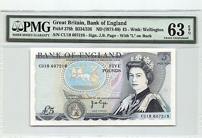 Great Britain ND (1973-80) P-378b PMG Choice UNC 63 EPQ 5 Pounds (Page)