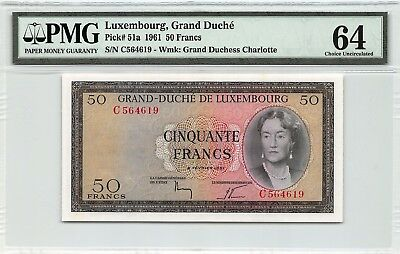 Luxembourg 1961 P-51a PMG Choice UNC 64 50 Francs