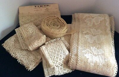Vintage Handmade Lace Tatted Crochet lace and trim LOT