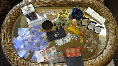 Old Vintage Junk Drawer Lot Unc. Silver Coins, Chanel, Cartier, Pins, Rings, etc