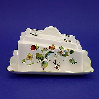 """Vintage Old Foley James Kent Strawberry Pattern Butter/Cheese Dish - 3.75"""" High"""