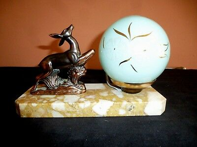 French Art Deco Spelter & Marble Leaping Deer  Mood Lamp