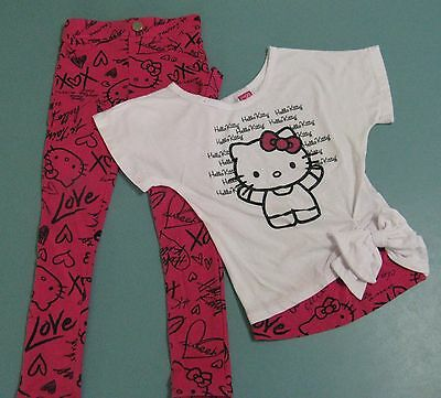 Hello Kitty Jeggings 4/5 XS With Matching Top Sanrio