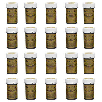 20x Sugarflair 25g Caramel Ivory Spectral Paste Gel Edible Food Color Cake Icing