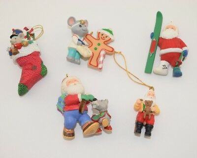 Christmas Ornaments - Lot of 5 - Santa 2000 Gingerbread 1994 Mouse Doctor 1993
