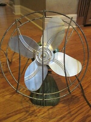 "Fan Electric Vintage / Antique 11"" Tall Collectiable Green Works Mid-Century #N1"