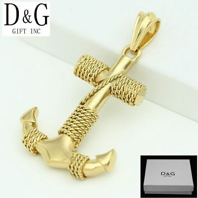 DG Men's Stainless Steel,Gold 62mm  Anchor Rope Charm Pendant*Unisex + Box