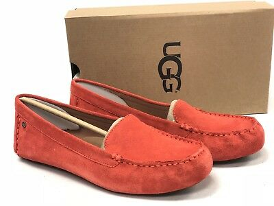 afb3f196af5 UGG Australia Women s Milana Water Resistant Suede Loafers Red Orange  1096572