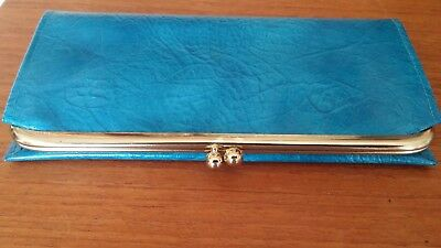Never Used Vintage Turquoise Womans Buxton Leather Clutch Wallet NO Issues NICE!