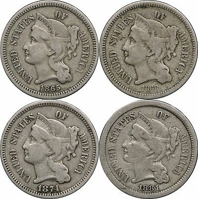 1865, 1868, 1874 & 1881 Three Cent Nickels, 4 Coins, VG, Very Good