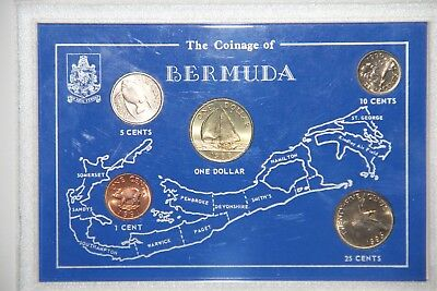 Coinage Set Bermuda  UNC 1 Cent-5 Cents-10 Cents-25 Cents-1 Dollar 1988 to 1993