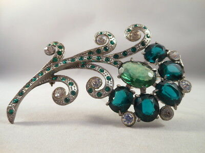 Vintage Art Deco Large Green & Clear Rhinestone Flower Silver Tone Brooch Pin