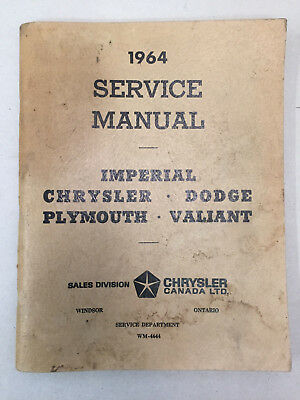 Vintage Chrysler Service Manual 1964 Imperial Dodge Plymouth Valiant Supplement