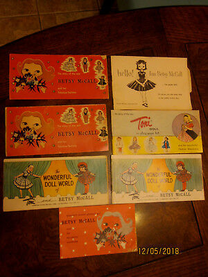6 Vintage Betsy McCall doll & 1 Toni doll booklets brochures pamphlets 1950's