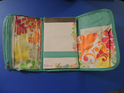 NEW THIRTY ONE Fold and Go Organizer TURQUOISE CROSS POP / ISLAND DAMASK Trifold