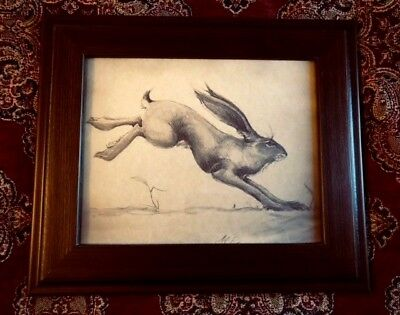 Running Hare Drawing Folk Art Vintage Print Antique Parchment Signed By Artist