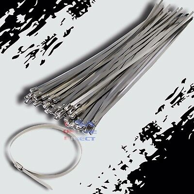 "18"" Stainless Steel Exhaust Wrap UL Approved Locking Cable Zip Ties Metal 50 Pc"
