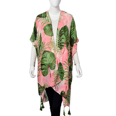 Pink and Green 100% Polyester Palm Leaf Pattern Kimono with Tassels (One Size)
