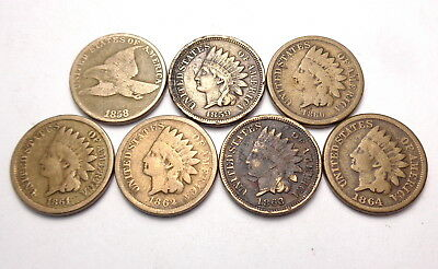 Lot of 7 Indian Head Penny/Flying Eagle Cent 1858 1859 1860 1861 1862 1863 1864