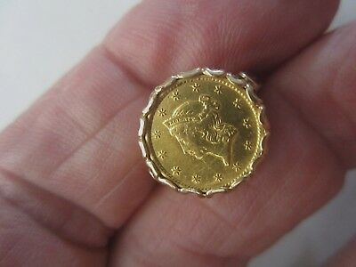 $1 Gold Liberty Head Coin Ring 14K Yellow Gold Setting Size 4 Weighs 5.7 Grams