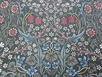 William Morris Curtain Fabric 'BLACKTHORN' 1.1 METRES Green Floral - 100% Cotton