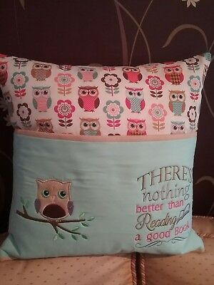 Reading Cushion, Handmade, Owl Theme Cushion Cover, Pocket Pillow Cover